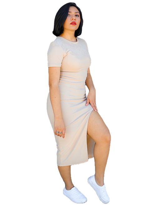 Vestido Midi con abertura en pierna