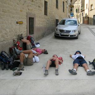 Resting on the Camino de Santiago, Spain