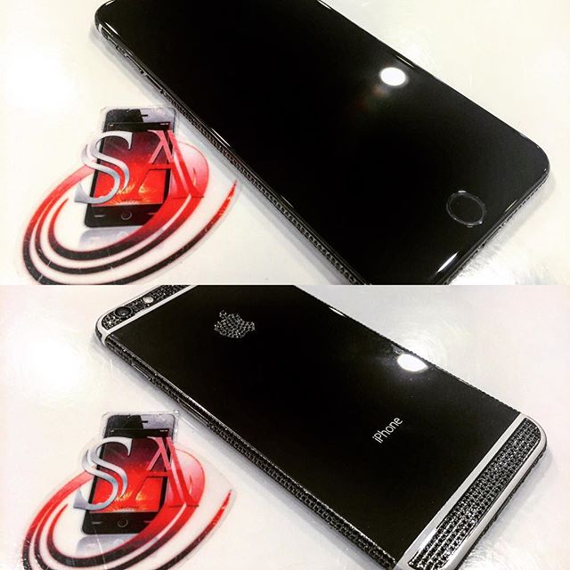 iPhone 6+ Custom Electroplated Black Frame with Swarovski Crystal