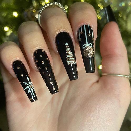 Black Glitter Christmas Nails