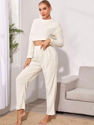 White Fur PJ Set