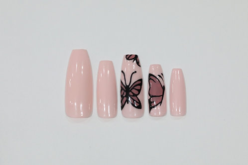 Ready to Ship - Pink Butterfly Nails