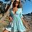 Thumbnail: Mint Lace Trim Plunge Frill Hem Skater Dress