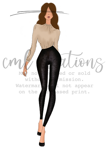 Framed Fashion Illustration - Beige Blouse