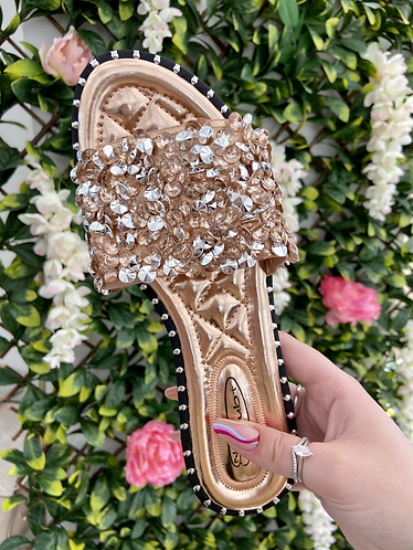 Rose Gold Embellished Sparkly Flat Slider Sandals