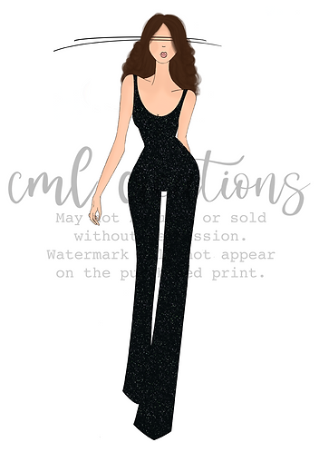 Framed Fashion Illustration - Brunette in Black Jumpsuit