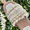 Thumbnail: White Woven Gold Chain Slider Sandal