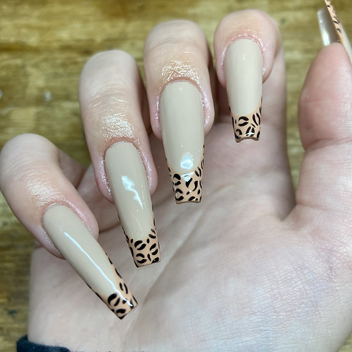 Leopard Print Tip Nails