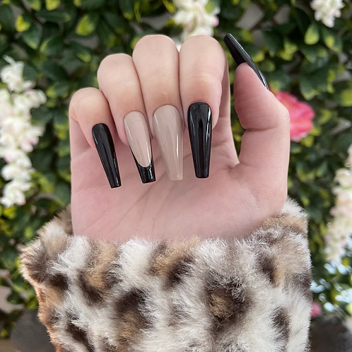 Ready to Ship -  Beige & Black Nails