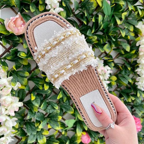 White Woven Gold Chain Slider Sandal
