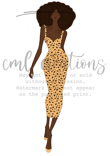 Framed Fashion Illustration - Leopard Print