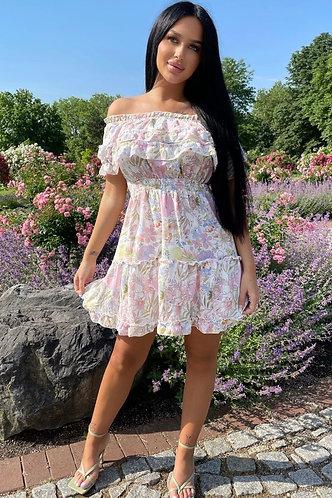 White Lilac Bardot Frill Detail Tiered Dress