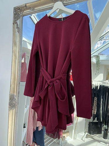 Burgundy Belted Top
