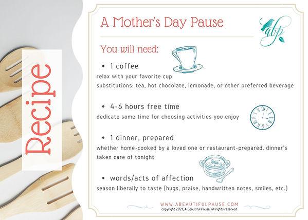 Self Care Recipe Card_A Mother's Day Pau