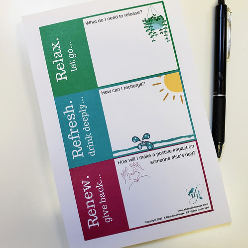 Self-Care Memo Pad to Relax. Refresh. Renew. for mental, emotional, & spiritual well-being