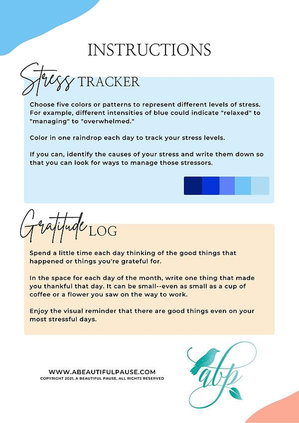 Stress Tracker & Gratitude Log instructi