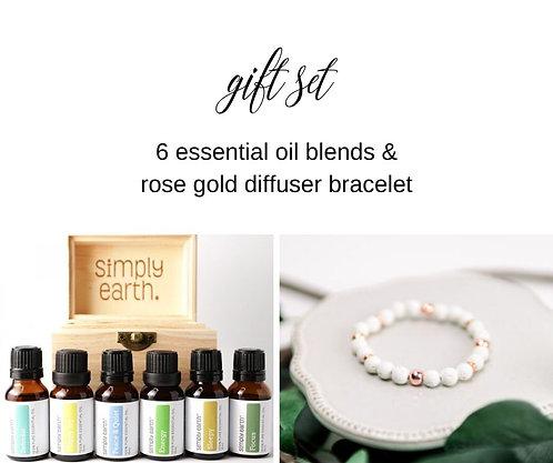 Essential Oil Gift Set + Rose Gold Diffuser Bracelet