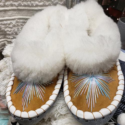 "Sheepskin ""Elsa"" Embroidered Moccasin Slippers"