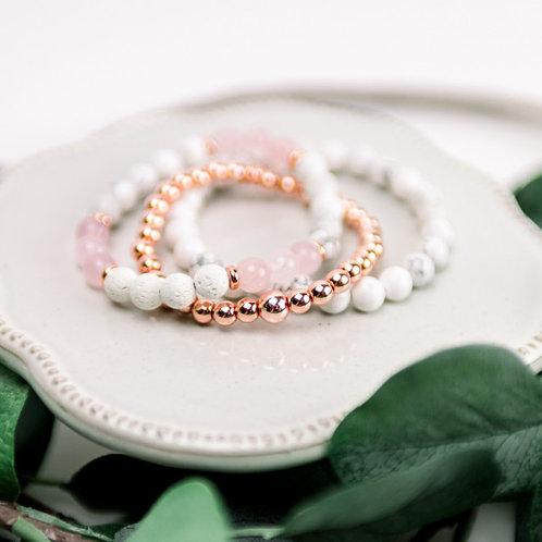 Rose & Howlite Diffuser Bracelet Set