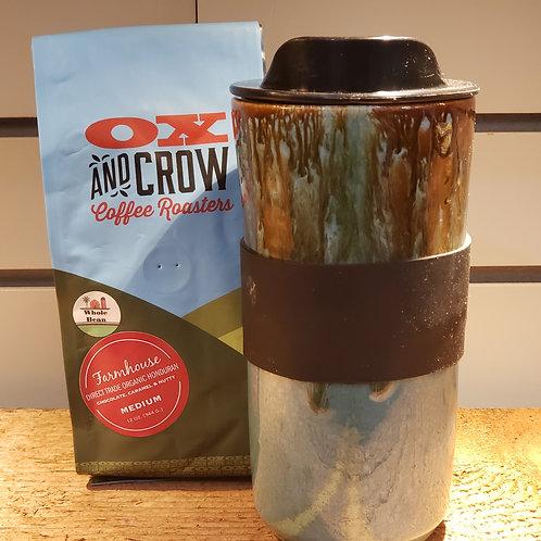 Turquoise & Brown Travel Mug & Medium Roast Coffee