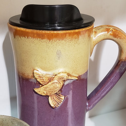 Hand-Thrown Pottery Travel Cup - Hummingbird