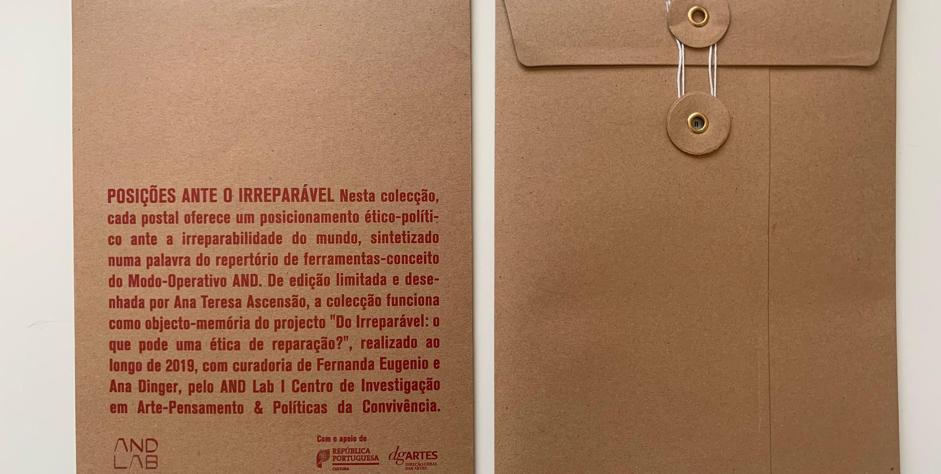 Colecção de Postais 'Do Irreparável' | Envelope de apresentação