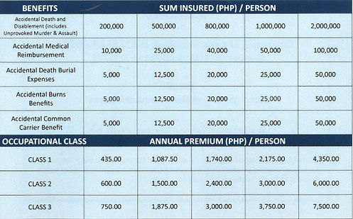 Starr Insurance Philippines - Individual Accident Insurance benefit limits