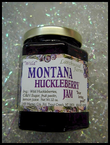 Huckleberry Jam in a 12 oz. jar