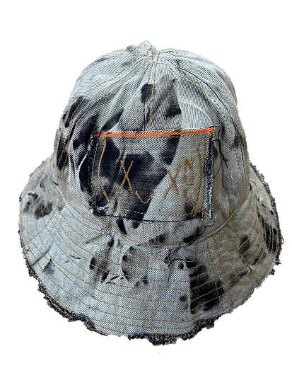 bleached denim bucket hat