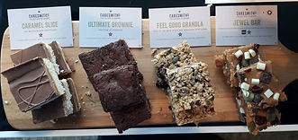 Brownies, granola slices, cakes