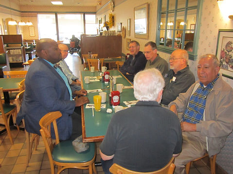 The No Green Bananas  mens group having breakfast together at a local restaurant.