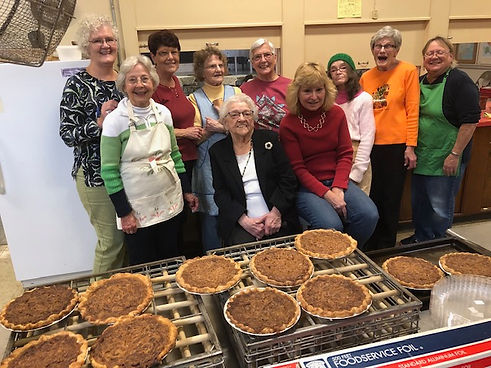 The Women's Union gathered for the annual pie making event.