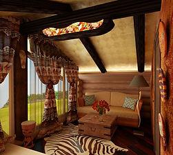 Деревянный дом с крашенным потолком