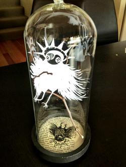 spirit owl under glass
