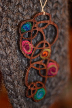 9 circles with felted merino swirls