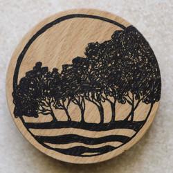 yallingup trees ceramic pot/wood lid