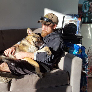 """We do this for our sons……USMC veteran Anthony Taylor who after losing CPL Coffey, named his service K9, """"Coffey"""", in his honor."""