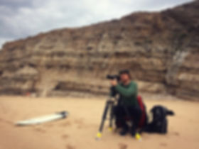 Shooting the surf in Sagres, Portugal