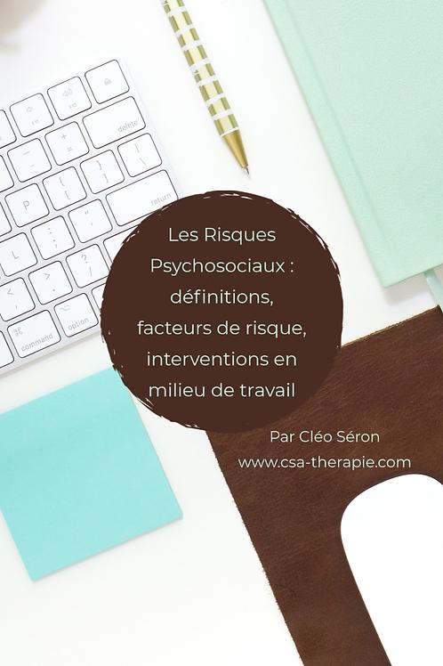 Les Risques Psychosociaux en milieu de travail