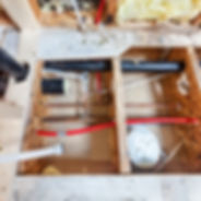 Bathroom remodel showing under floor plu
