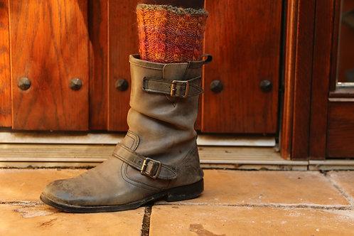 落ち葉色のブ-ツトッパ-ズ Russet Cable for short boots