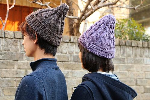 男女兼用 草木染めニット帽(紫根)