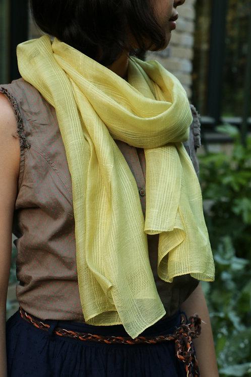 Yomogi  100% silk scarf 格子柄