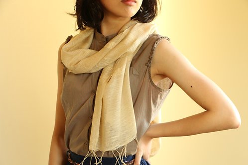 Loquat leaves  100% silk scarf オーガンジー