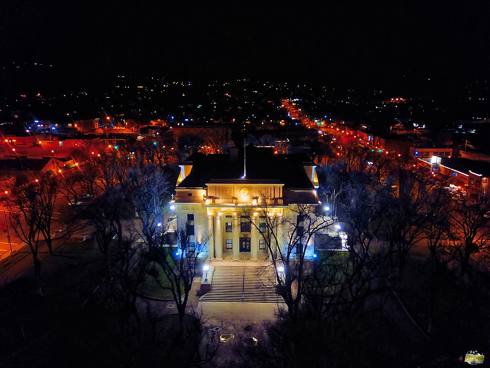 aerial drone image of Prescott Courthouse, arizona, extreme aerial productions