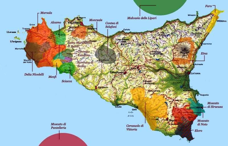 Sicilia wine map