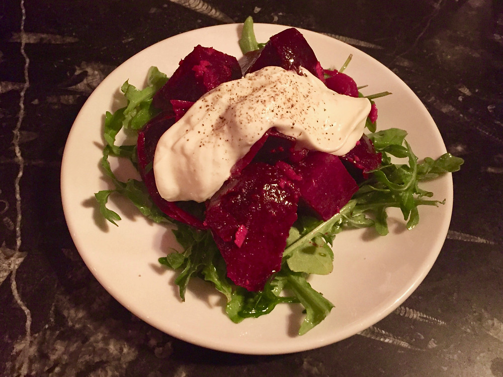 Beet salad with Spoonwood Cabin goat cheese at Remedy Wine Bar