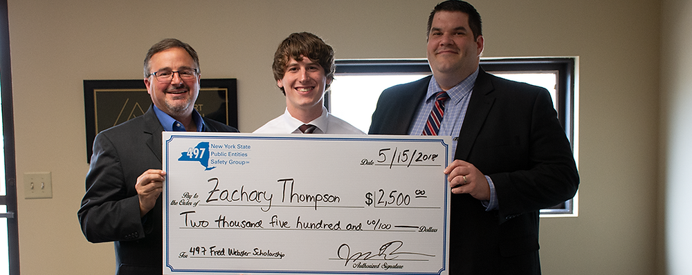 Zachary Thompson receives his 2018 Fred Webster Scholarship