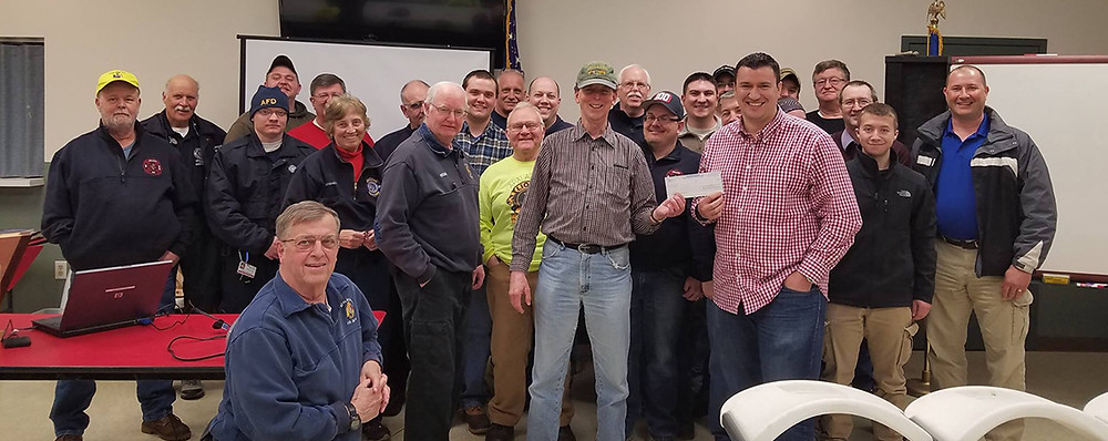 Apalachin FD holding their 2017 Safety Initiative Grant check