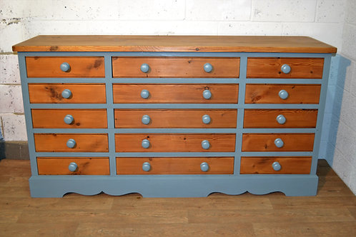 Very large reclaimed pine chest of drawers